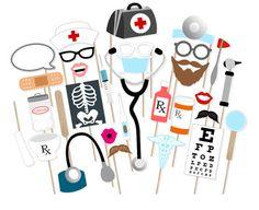 Médical soins infirmiers Graduation Photo Booth Props optométriste - imprimable…