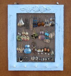 Light Blue Shabby Chic Jewelry Display Rack by tammnoony on Etsy - Stylehive