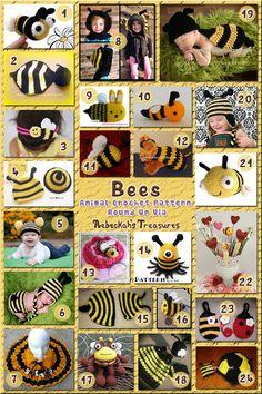 Bees - Animal Crochet Pattern Round Up via @beckastreasures