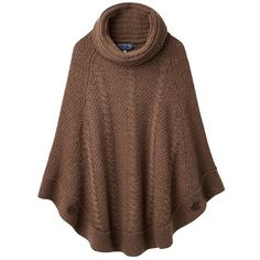 Joules Tessa Cable Knit Poncho , Brown Marl ($120) ❤ liked on Polyvore featuring outerwear, brown marl, cable knit poncho, brown poncho and cable poncho