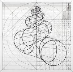 Venezuelan artist Rafael Araujo creates meticulously detailed drawings of the Fibonacci spiral in naturenow, you can color along. Geometric Drawing, Geometric Shapes, Dotwork Tattoo Mandala, Spirals In Nature, Sacred Geometry Art, Nature Geometry, Sacred Geometry Patterns, Poster Design, Math Art