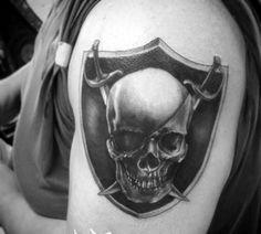 40 Oakland Raiders Tattoos For Men - Football Ink Design Ideas Cover Up Tattoos For Men, Tattoos For Guys, Raiders Fans, Oakland Raiders, Sword Tattoo, Arm Tattoo, Raiders Tattoos, Men's Football, First Nations