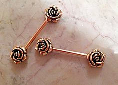VICTORIAN 2 Rose Gold Plated ROSE FLOWER Nipple by PiercingPassion