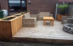 wood pallet patio terrace with furniture