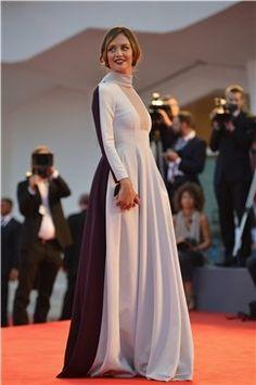 #Venecia2013 #starsisems #italian #anchorwoman #FrancescaCavallin #square neckline #blackandwhite #dress #in