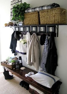 Entryway Benches for Small Spaces Below Rectangle Throw Pillow with Cotton Upholstery Fabric also Vintage Camping Lanterns Nearby Metal Sand Buckets also Small Storage Benches Beautiful Entrance Halls Narrow Foyer Bench Small Entry, Front Entry, Front Hallway, Small Hall, Diy Casa, Small Space Solutions, Home Organization, Organisation Ideas, Organizing Ideas