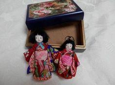(E)豆市松人形 2体 約7~8cm 日本人形