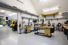 Barn shop interior contemporary shed garage lighting options best . Workshop Layout, Garage Workshop, Workshop Plans, Workshop Design, Shed Design, Garage Design, Design Design, Contemporary Sheds, Barn Shop