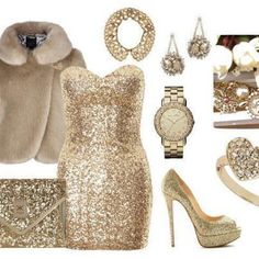 glittery gold outfit