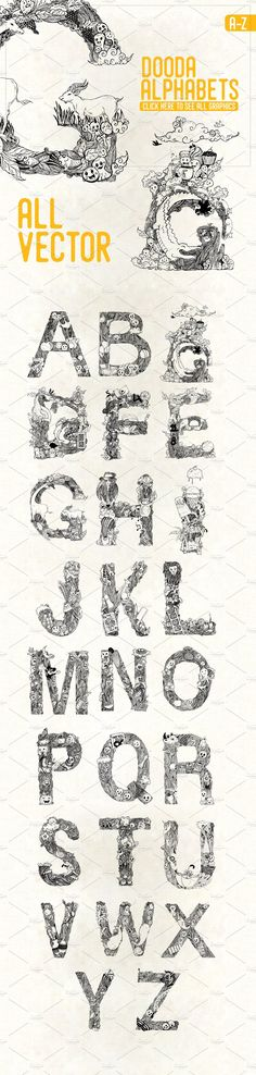 Dooda Alphabets A-Z by Invents on @creativemarket