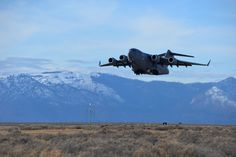 A C-17 Globemaster III assigned to Travis Air Force Base, Calif., performs a touch-and-go Jan. 21 at Amedee Army Airfield, Calif. (U.S. Air Force photo by Staff Sgt. Charles Rivezzo)