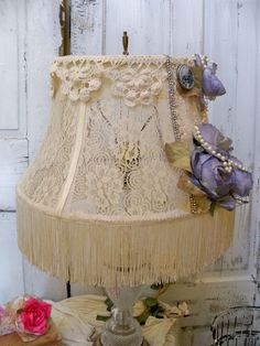 Lace Victorian lampshade shabby chic lavender by AnitaSperoDesign