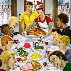 This is the Thanksgiving scene for many in the #LGBT Community as their families have abandoned them for being who they are. So we make our own families - Thank god for them.