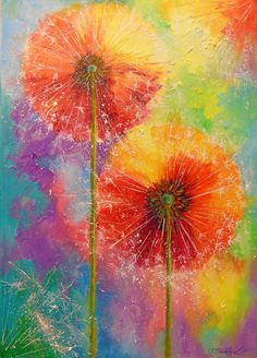 Dandelions by Olha Darchuk Art Floral, Watercolor Flowers, Watercolor Paintings, Dandelion Painting, Mosaic Pictures, Alcohol Ink Art, Animal Paintings, Painting Inspiration, Flower Art