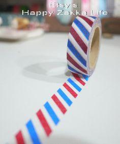 Japanese Washi Masking Tape - Blue White and Red - 10m (11 Yards). $3.50, via Etsy.
