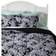 Xhilaration Damask Comforter Set - BlackWhite