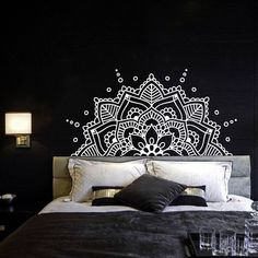 Pintogopin Club – Pintogopin Club Mode – Fashion Half Mandala Wall Decal Headboard Master Bedroom Boho Bohemian Decor Vinyl Sticker Yoga Studio Namaste Ornament Mandala Decals Decor - - for the master bedroom Wall Murals Bedroom, Home Decor Bedroom, Bedroom Ideas, Diy Bedroom, Home Design Decor, Wall Design, Design Design, Design Elements, Pattern Design