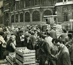Jacques Verroust - Le Carreau des Halles, marché des aromates, à côté de l'église Saint-Eustache, Paris, vers 1955.