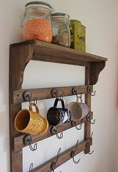 Wooden Wall Shelf With Hooks by The Forest & Co, the perfect gift for Explore more unique gifts in our curated marketplace. Kitchen Wall Shelves, Wooden Wall Shelves, Kitchen Nook, Wooden Walls, Rustic Kitchen, Kitchen Ideas, Cabin Coffee, Coffee Nook, Coffee Bar Home