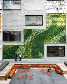 Happy #EarthDay! We're celebrating with this former warehouse turned workspace. A green wall adds a natural touch to the space and scales the atrium from top to bottom.  @joefletcherphoto
