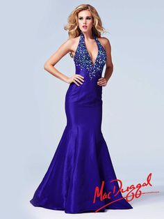 MacDuggal Cassandra Stone 82037A Plunging V Neck Halter Gown - French Novelty $378.09