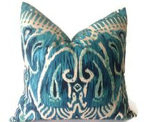 Designer Fabric Decorative Pillow  decorative ikat pillow cover Colors include turquoise, peacock blue, ,ivory  printed fabric front  back with high