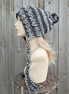 Cream and Charcoal Grey Slouchy Knit Hat Womens Hat - Charlotte Ear Flap Winter Beanie With Pom Pom - READY TO SHIP by pixiebell on Etsy