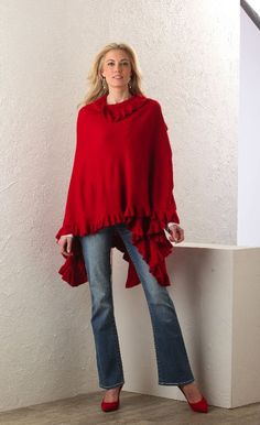 City ruffle shawl in red + bootcut tall jeans = perfect fall outfit! Jeans currently $20 off: http://www.longelegantlegs.com/jeans