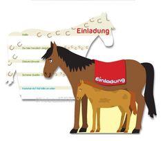 Pferde-Einladungen als Pferd 6St - Kindergeburtstag Pferdeparty