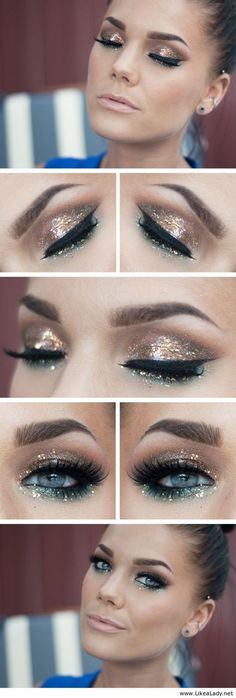 Gorgeous, sparkly eye look for your upcoming holiday parties!
