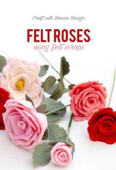 Felt Roses with Scrap Felt (Benzie Design - Tutorials) Handmade Flowers, Diy Flowers, Fabric Flowers, Paper Flowers, Flower Diy, Paper Butterflies, Rose Flowers, Purple Roses, Flower Making