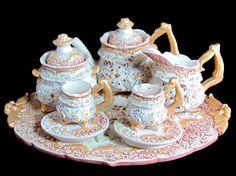 Vintage Miniature Teaset, Ornate Regency Style Doll's House Resin Tiny Tea…
