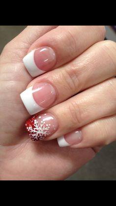 French acrylic with white snowflake :) Christmas nail art