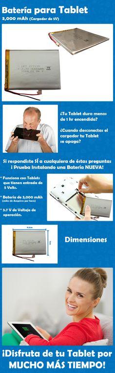 Batería para Tablet 3,000 mAh ¡Disfruta de tu Tablet por MUCHO MÁS TIEMPO!