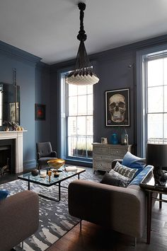 blue grey walls - Go Blue Rooms, Blue Living Room, Interior Design, Home Living Room, Eclectic Living Room, Home, Interior, Living Room Diy, Room