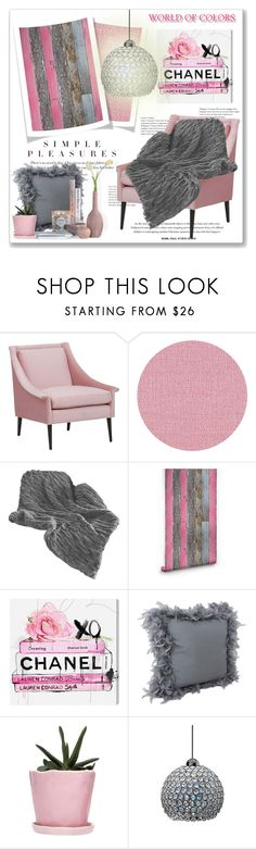 """""""Pink & Grey Simple Pleasures"""" by leanne-mcclean ❤ liked on Polyvore featuring interior, interiors, interior design, home, home decor, interior decorating, Élitis, Milton & King, Oliver Gal Artist Co. and Dot & Bo"""