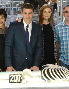David Boreanaz with Emily Deschanel at the 'Bones' 200th Episode Celebration at Fox Studios in Century City, California on NovemberView photos inside