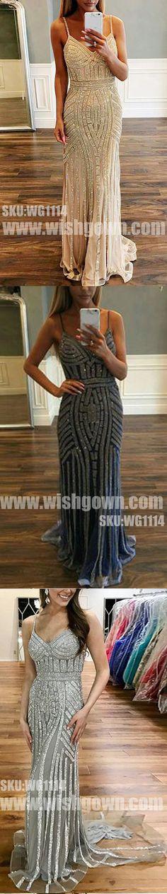 Most Popular Sparkle Charming Spaghetti Strap Evening Long Prom Dresses, WG1114 #promdress #promdresses #longpromdress #longpromdresses #eveningdress