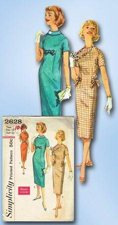 1950s Original Stunning Simple to Make Teen Sheath Dress Pattern Sz 32 B | eBay