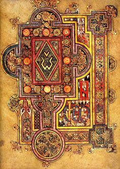 A page from the Book of Kells; an illuminated manuscript, created by Celtic monks around the year 800.
