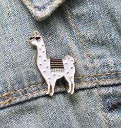 Llama Lovers Enamel Pin (white black and gold © 2015 Sugar and Type