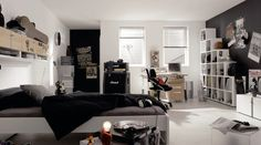 Bedroom, : Awesome Black Nuance Teen Boy Bedroom Ideas With Guitar Rockstar Theme, Marshall Guitar And Amplifier Equipment, White Rectangle Cascade Open Bookshelf