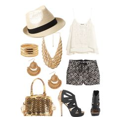 Summer 2014 outfit: White ruffled cami w/ black & white lace shorts, straw fedora w/black band, gold coin bib necklace, dangly gold coin earrings, thick gold bangle, black high heels with gold heel, gold bag