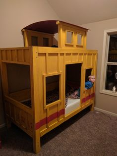 The Caboose Bunk bed Wood Bunk Beds, Bunk Beds With Stairs, Kids Bunk Beds, Train Bedroom, Bunk Bed Designs, Diy Home Decor Bedroom, Playroom Decor, Bed Plans, Loft Spaces