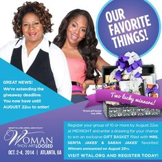 Ladies! I've been shopping for my favs! We're extending the deadline #WTAL Giveaway | Register your Group by AUG 22! pic.twitter.com/md4sNUrFmf