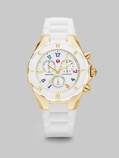 Michele Watches Tahitian Jelly Bean Chronograph Watch in White at London Jewelers! -I am obsessed with this!