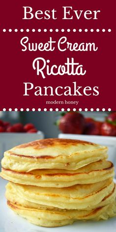 pancake healthy Best Ever Sweet Cream Ricotta Pancakes. Creamy, sweet, fluffy pancakes made with ricotta cheese. Easy, one bowl pancakes made in less than 5 minutes. Melt in your mouth ricotta pancakes. Ricotta Cheese Recipes, Queso Ricotta, Ricotta Pancakes, Fluffy Pancakes, Breakfast Pancakes, Breakfast Dishes, Best Breakfast, Breakfast Recipes, Pancake Recipes