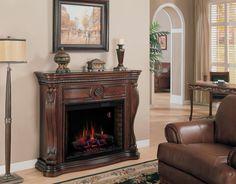 K--Classic Flame Lexington Electric Fireplace Mantel Surround Electric Fireplace With Mantel, Fireplace Mantel Surrounds, Fireplace Inserts, Fireplace Mantle, Electric Fireplaces, Fireplace Ideas, Linear Fireplace, Fireplace Heater, Victorian Fireplace