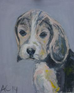 Puppy beagle, acrylic on canvas. www.artyana.co.uk
