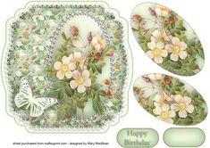 Shabby Chic Wild Roses Shaped Card